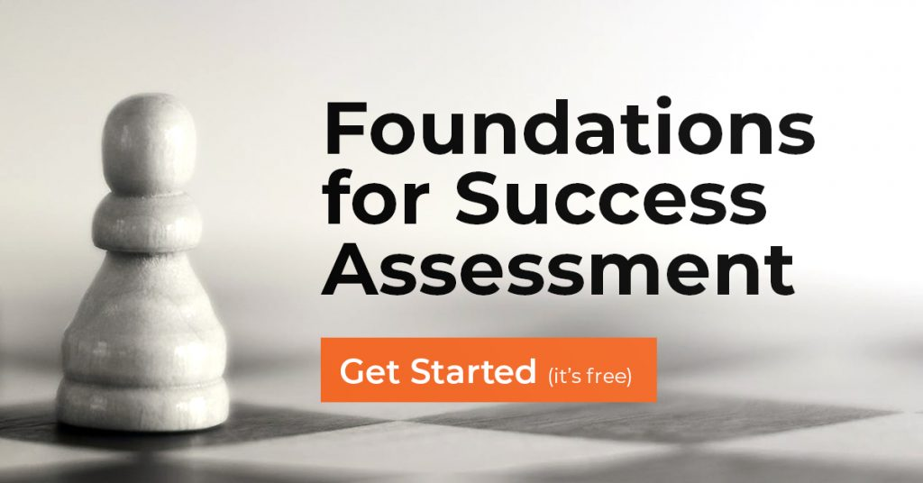 Foundations for Success Assessment title and a Get Started button over top of an image of a chess pawn.